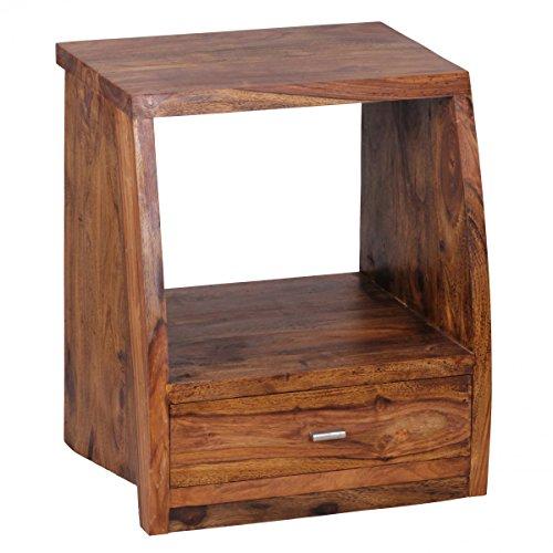Wohnling Nachttisch aus Massivholz Sheesham Maße (B/T/H) in cm: 45x40x53, Nachtkonsole Nachtschrank BZW. Kleine Kommode