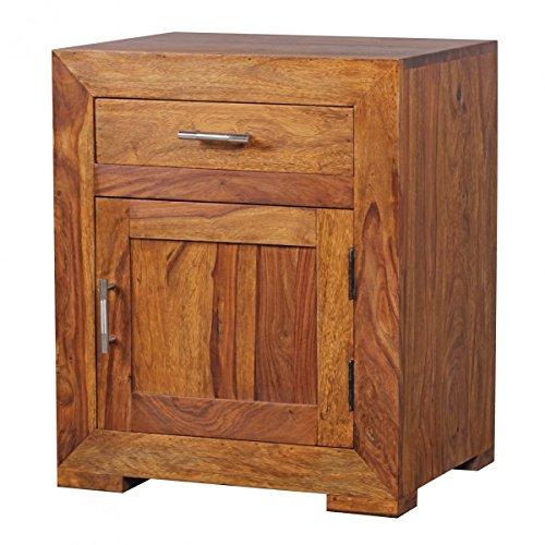 Wohnnling Nachtschrank für Boxspringbetten mit Schublade und Tür aus Massivholz Sheesham mit Den Maße (B/T/H) in cm: 50 x 40 x 60