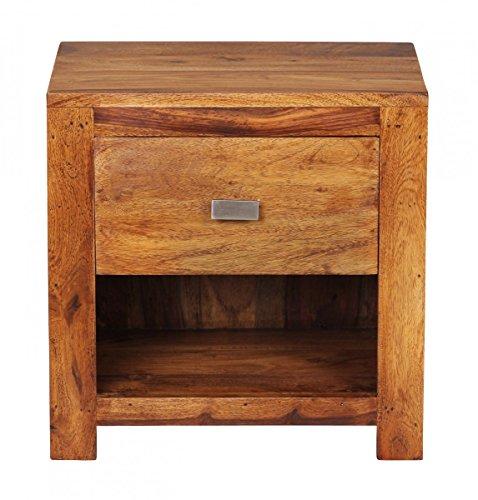 Wohnnling Nachttisch BZW. Nachtkommode aus Massivholz Sheesham mit Schublade und Einem Fach; Maße (B/T/H) in cm: 40 x30 x 40