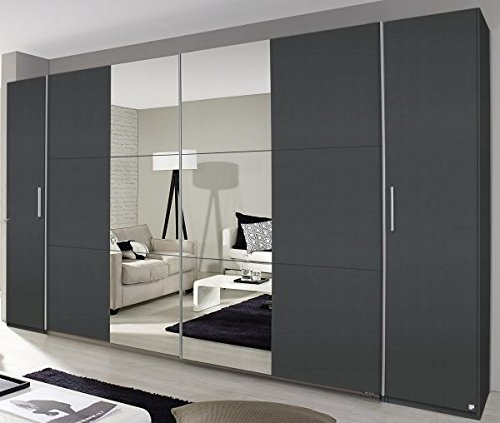 Dreh-/Schwebetürenschrank grau metallic 4-trg B 355 cm Schlafzimmer Drehtürenschrank Kleiderschrank Schrank Wäscheschrank Schiebetürenschrank