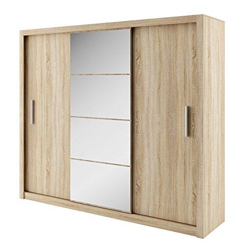 Kleiderschrank Idea, Modernes Schwebetürenschrank mit Spiegel, Schiebetür, 250 x 215 x 60 cm, Elegantes Schlafzimmerschrank, Schlafzimmer