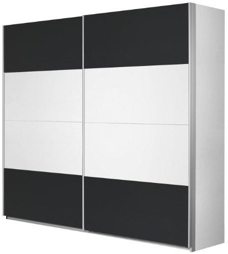 Rauch Schwebetürenschrank 2-türig Weiß Alpin, Absetzung Grau Metallic, BxHxT 226x210x62 cm