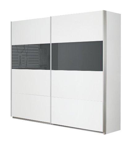 Rauch Schwebetürenschrank 2-türig Weiß Alpin, Glasabsetzung Grau, BxHxT 226x210x62 cm