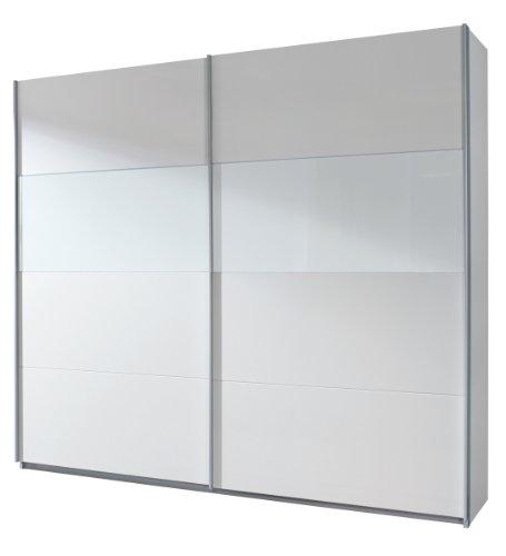 Rauch Schwebetürenschrank 2-türig  Weiß Alpin, Glasabsetzungen Weiß, BxHxT 270x210x62 cm