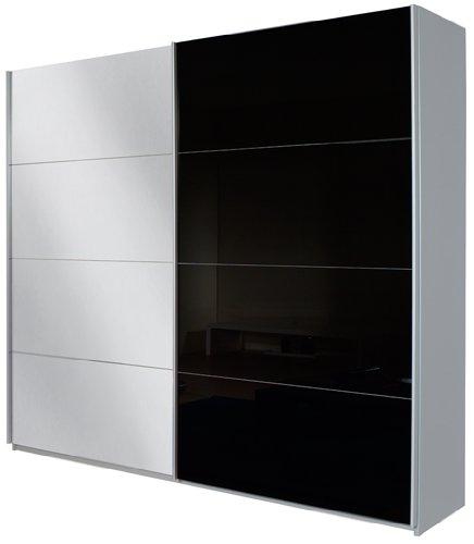 Rauch Schwebetürenschrank Quadra/2-türig/1 Spiegeltüre/Korpus: grau-metallic/Front: Glas schwarz/spiegel