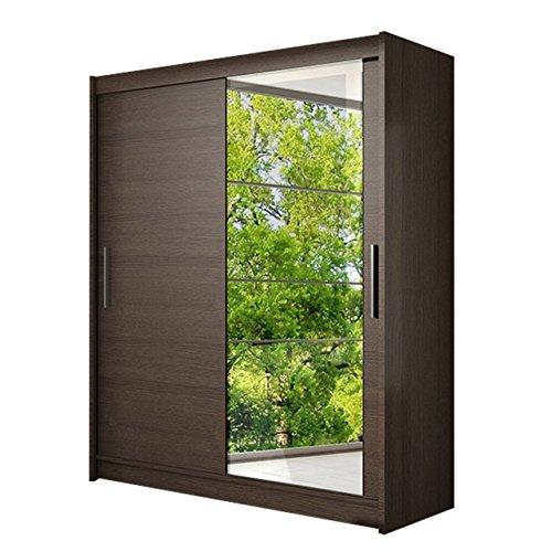 Schwebetürenschrank Presto VI Kleiderschrank mit Spiegel, Modernes Schlafzimmerschrank, Schiebetürenschrank, Garderobe, Schlafzimmer