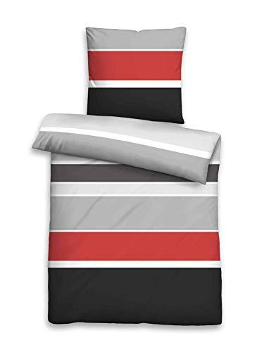 Beautissu Bettwäsche 135x200 oder 155x220 cm Dana Delia - mit Reißverschluss 100% Baumwolle - Bettbezug mit 80x80 cm Kissenbezug
