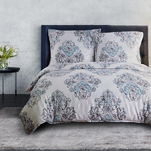 Bettwäsche Set mit Vintage Muster, Super Weiche Atmungsaktive Hypoallergen Mikrofaser Bettbezug mit Reißverschluss & Eckbändchen + Kissenbezüge 80x80cm, schickes und stilvolles Design