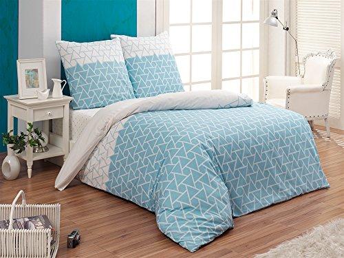 Buymax Bettwäsche Set 2 oder 3 teilig, Renforce-Baumwolle, Reißverschluss, Dreiecke
