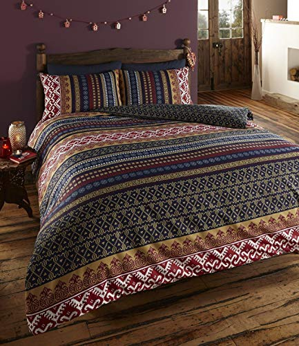 De Cama Orkney Doppelseitiger Druck Quilt Bettbezug Bettwäsche-Set blau