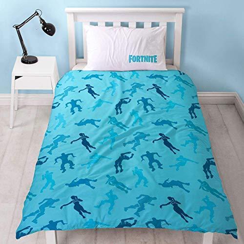 Fortnite Offizieller Bettbezug für Einzelbett, Shuffle-Design, wendbar, zweiseitig, Battle Royale Bettwäsche mit passendem Kissenbezug