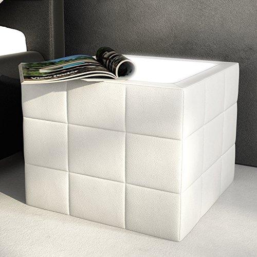 Innocent Nachttisch gesteppt mit Plexiglas und LED Cobo