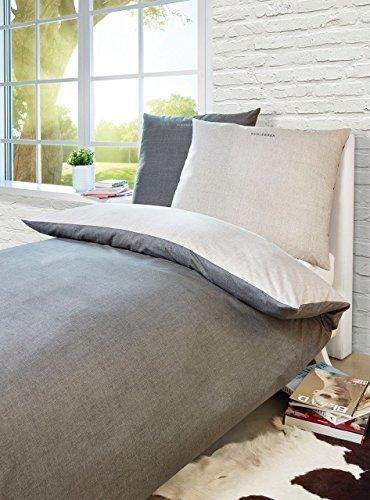 Schiesser Renforcé Bettwäsche Doubleface Silber - Anthra, 2-teilig, 100% Baumwolle, versch. Größen erhältlich