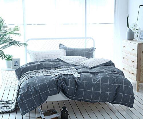 Unimall Bettwäsche Set Grau 135x200+80x80, 155x220+80x80, 200x200+80x80*2 mit Karo Muster Grau