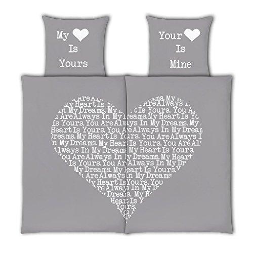 VS Home Partner-Bettwäsche Heart Herz Valentinstag / 100% Baumwolle / 4-teilig / 135cm x 200 cm erhältlich