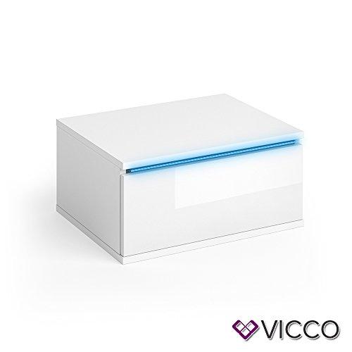 Vicco Nachttisch Pierre weiß Hochglanz 2er Set LED Nachtschrank wandhängend Kommode Schrank Schlafzimmer Schublade