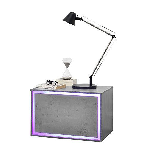 [en.casa] LED Nachttisch in Verschiedenen Farben und Größen - Nachtschrank Schublade Nachtkommode Kommode Ablage RGB