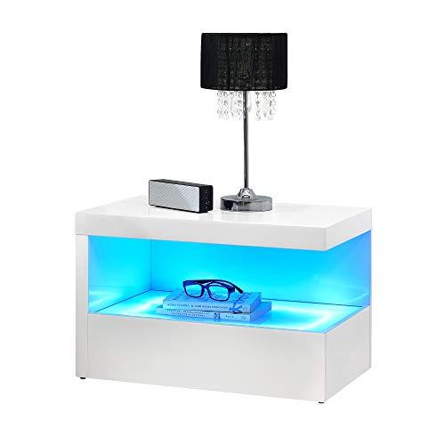 [en.casa] LED Nachttisch - in Zwei Farben - Nachtschrank Schublade Nachtkommode Kommode Ablage RGB