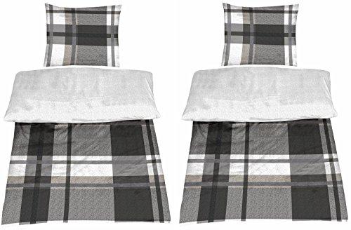 optidream 4-Teilige hochwertige Renforcé-Bettwäsche Uni-Wende in anthrazit/Silber 2X 135x200 Bettbezug + 2X 80x80 Kissenbezug, 100% Baumwolle