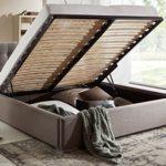 Bett mit Bettkasten Grau Polsterbett Lattenrost Doppelbett Jimmy 140 160 180x200