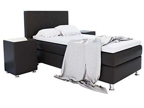 Home Collection24 GmbH Boxspringbett 90x200 cm mit Federkern-Matratze Topper in H3 Hotelbett Einzelbett Kostenlose Anlieferung