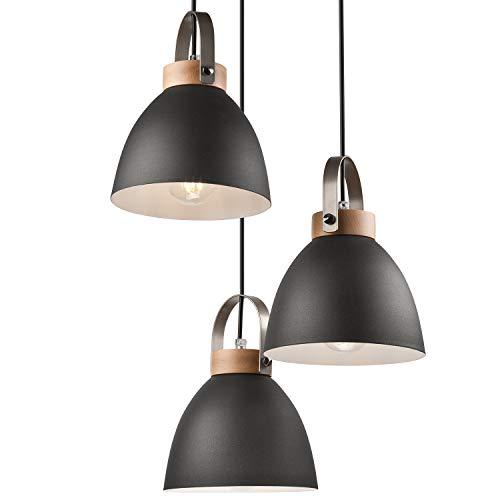 JVS Pendel-Leuchte Decken-Leuchte aus Metall E27 Hänge-Leuchte Vintage Industrieleuchte Wohnzimmerlampe Modern Wohnzimmer mit Kabel Vintagelampe für Wohnzimmer/Küche/Büro/Praxis (, flammig)