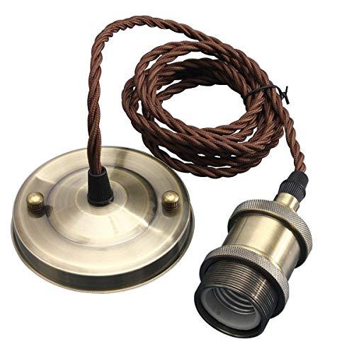 KINGSO E27 Lampenfassung Kupfer Vintage Retro Antike Edison Pendelleuchte Hängelampe Halter Lampe Zubehör mit 2 Meter Kabel