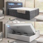 wohnenluxus Boxspringbett York Bettkasten Hotelbett Matratze LED Kopflicht Chesterfield