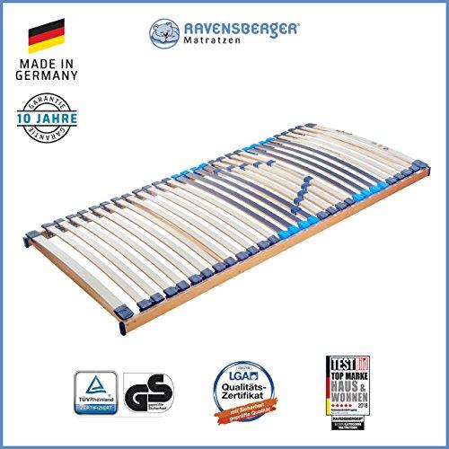 RAVENSBERGER MEDITOP 30-Leisten-Buche-Lattenrahmen | 5-Zonen-Buche-Lattenrahmen | Starr | Größen 80 x 200 cm bis 140 x 220 cm