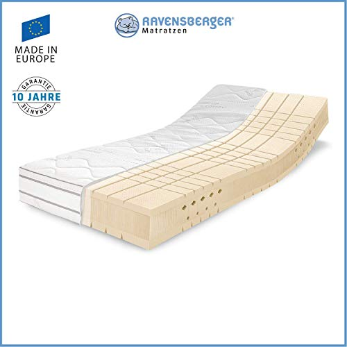 RAVENSBERGER TALALAY® Premium Latexmatratze 100% Naturlatex | 7-Zonen-Latexmatratze H2+H3 oder H4 | Made IN Germany - 10 Jahre Garantie | Premium Cotton®-Bezug