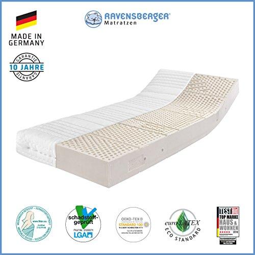 Ravensberger Matratzen Latex Oeko TEX 100 7-Zonen-Komfort | Härtegrade H2 und H3, Größen 80 x 190 cm bis 160 x 220 cm verfügbar