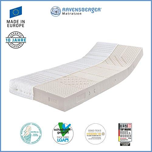 Ravensberger Matratzen Natur-Latex 7-Zonen-Premium-Latexmatratze | Härtegrade H2, H3 | Größen 80 x 190 cm bis 160 x 220 cm verfügbar