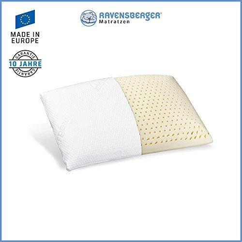 Ravensberger Matratzen® Natur Latex-Kissen 50% Naturkautschuk| Made IN Europe - 3 Jahre Garantie | MEDICORE silverline® Bezug